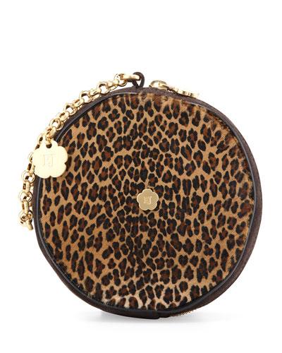 Eric Javits Leopard-Print Round Wristlet