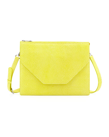 Eric JavitsKirsten Pebbled Crossbody Bag, Lemon