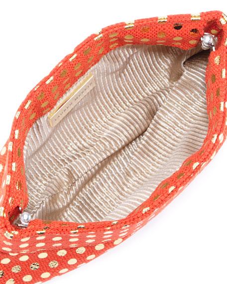 Eve Metallic-Dotted Clutch Bag, Orange