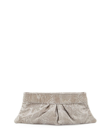 Eve Glossy Python-Embossed Clutch, Gray