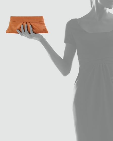 Eve Pin Dot Lambskin Clutch Bag, Camel