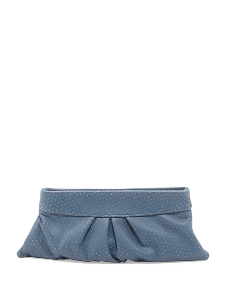 Eve Pin Dot Lambskin Clutch Bag, Blue