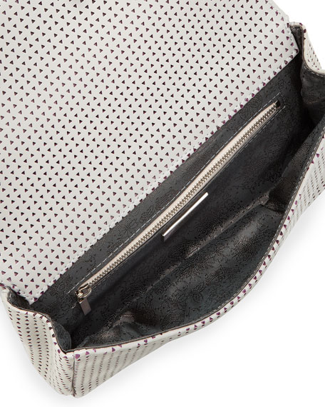 June Perforated Leather Clutch, Gray