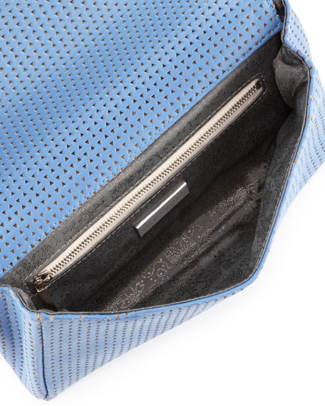 June Triangle Perforated Clutch Bag, Periwinkle
