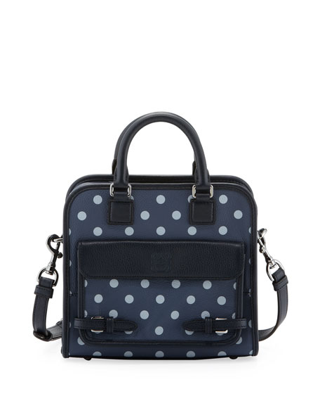 Cruz Small Leather Satchel Bag, Ocean/Navy Blue