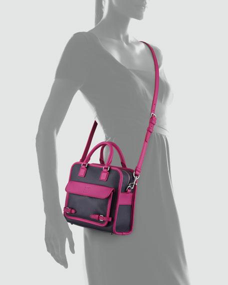 Cruz Small Leather Satchel Bag, Purple