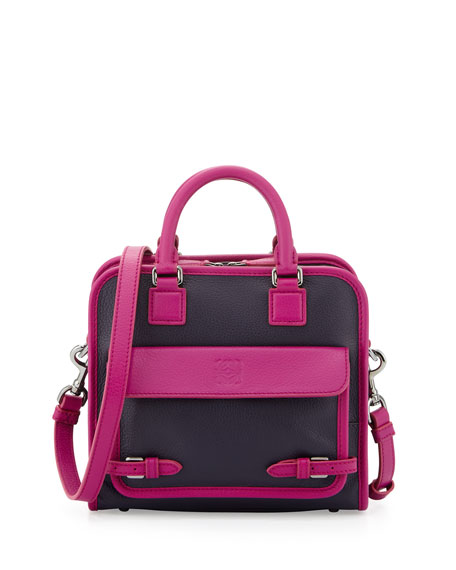 Cruz Small Leather Satchel Bag, Purple