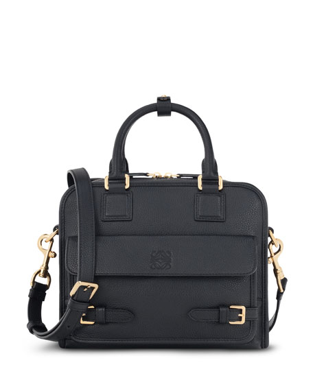 Cruz Small Leather Satchel Bag, Black