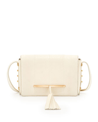 Bo Snakeskin Mini Crossbody Bag, White