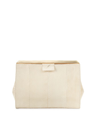 Leigh Pyramid Frame Snakeskin Clutch Bag, White