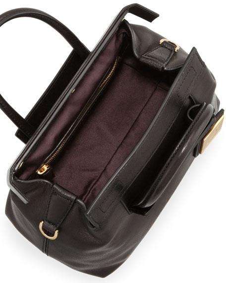 Sandra Mini Leather Satchel Bag, Black