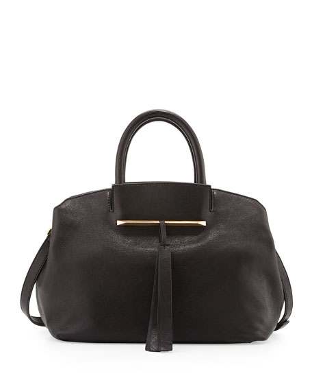 Gloria Small East/West Leather Tote Bag, Black