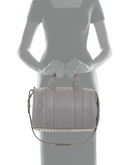 Rocco Dumbo Stud-Bottom Satchel Bag, Gray
