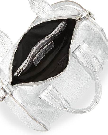 Rocco Stud-Bottom Satchel Bag, Silver