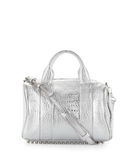 Alexander Wang Rocco Stud-Bottom Satchel Bag, Silver