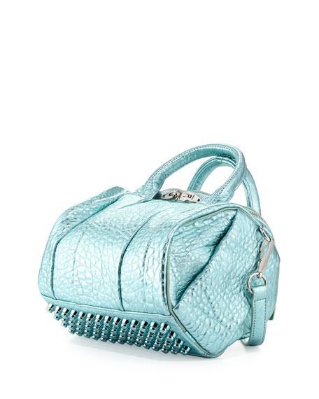 Rockie Dumbo Crossbody Satchel Bag, Green Metallic