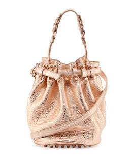 Alexander Wang Diego Dumbo Metallic Bucket Bag, Rose Gold