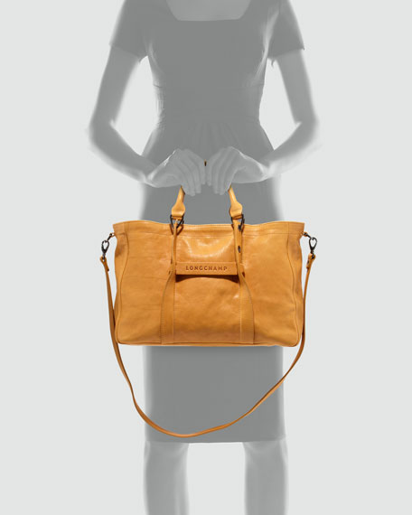 Longchamp 3D Leather Tote Bag, Nude