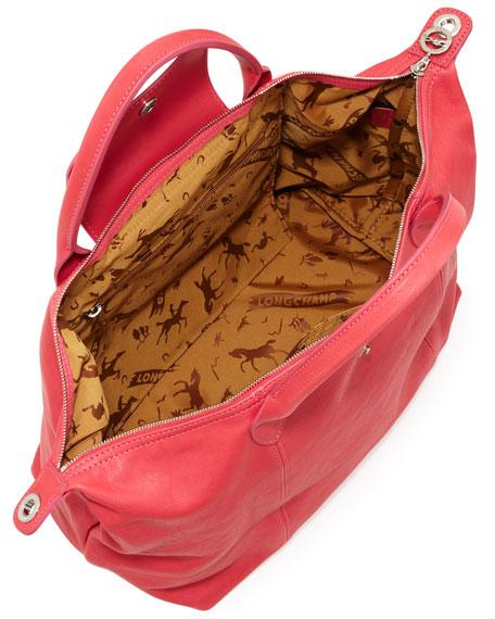 Le Pliage Cuir Handbag with Strap, Pink