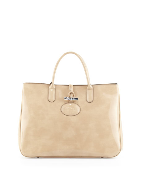 Roseau Large Patent Box Tote Bag, Nude