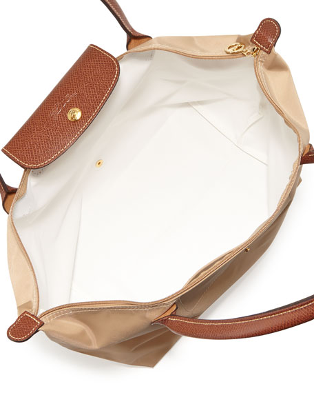 Le Pliage Large Nylon Shoulder Tote Bag, Beige