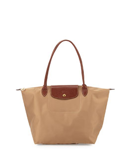 Longchamp Le Pliage Large Nylon Shoulder Tote Bag, Beige
