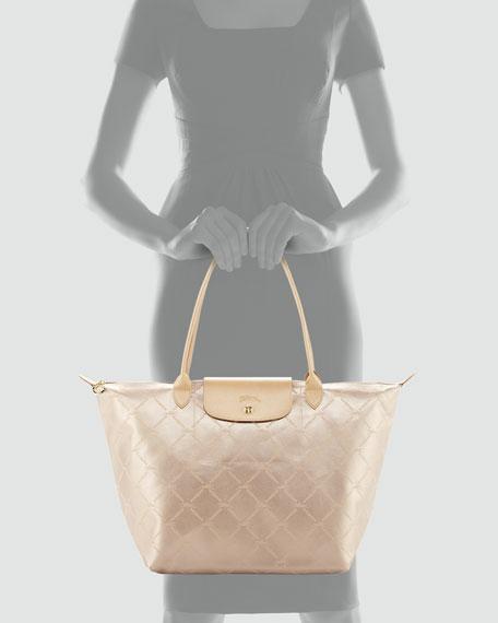 LM Metal Large Shoulder Tote Bag, Platinum