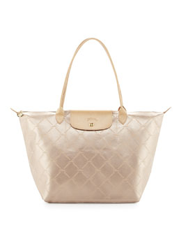 Longchamp LM Metal Large Shoulder Tote Bag, Platinum
