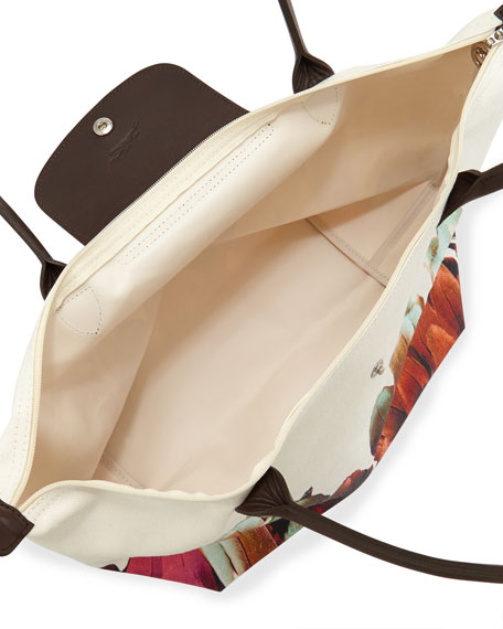 Floral-Print Canvas Tote Bag, Terracotta