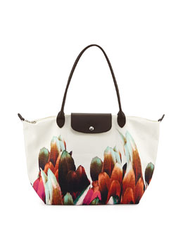 Longchamp Floral-Print Canvas Tote Bag, Terracotta