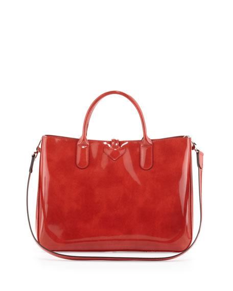 Roseau Patent Box Tote Bag, Terracotta
