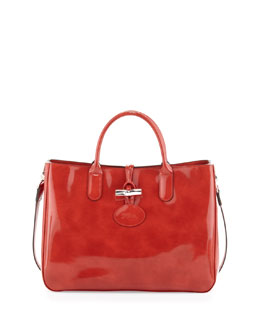 Longchamp Roseau Patent Box Tote Bag, Terracotta