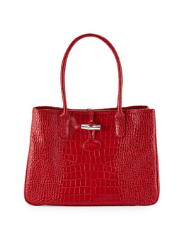 Longchamp Roseau Crocodile-Embossed Shoulder Bag, Vermillion