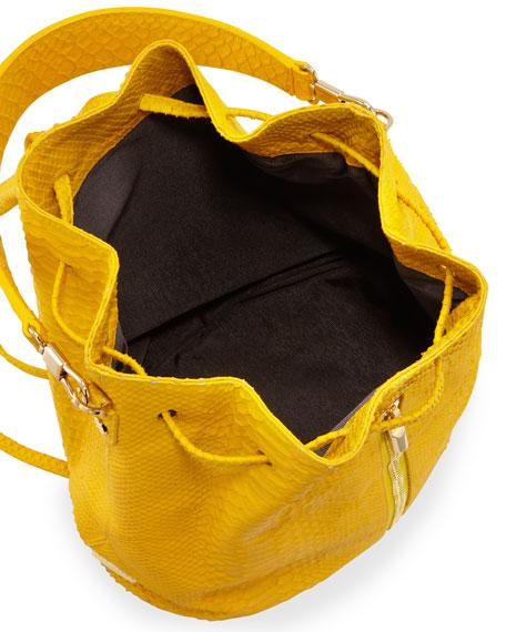 Cynnie Python-Embossed Drawstring Backpack, Lemon Zest