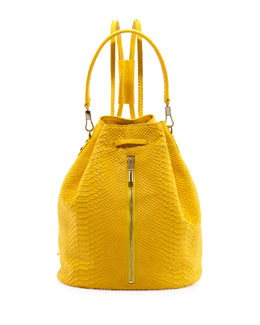 Elizabeth and James Cynnie Python-Embossed Drawstring Backpack, Lemon Zest