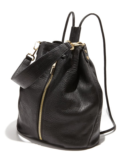 Cynnie Pebbled Leather Drawstring Backpack, Black