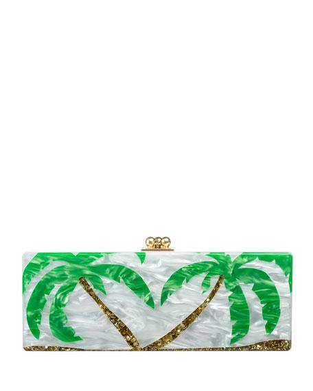 Flavia Palm Trees Clutch Bag, White/Gold/Green