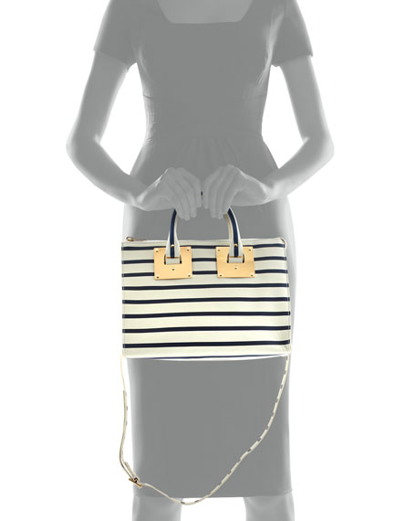 Mini Striped Zip-Top Bowling Bag, Cream/Navy