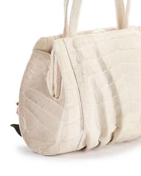 Large Floral-Applique Crocodile Satchel Bag, White