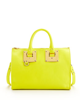 Sophie Hulme Mini Zip-Top Bowling Bag, Chartreuse