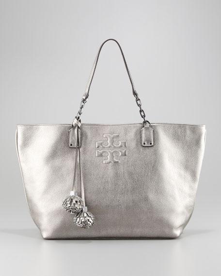 Thea Leather Metallic Tote Bag, Gunmetal