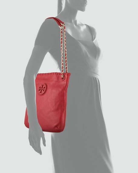Marion Leather Book Bag, Rouge Red