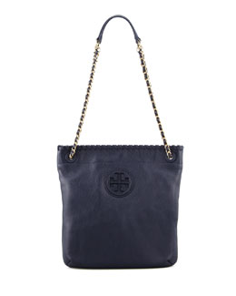 Tory Burch Marion Leather Book Bag, Navy
