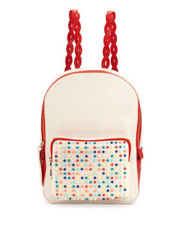 Christian Louboutin Valou Spiked Calfskin Backpack, Multicolor