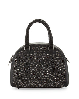 Christian Louboutin Panettone Small Eyelet Satchel Bag, Black