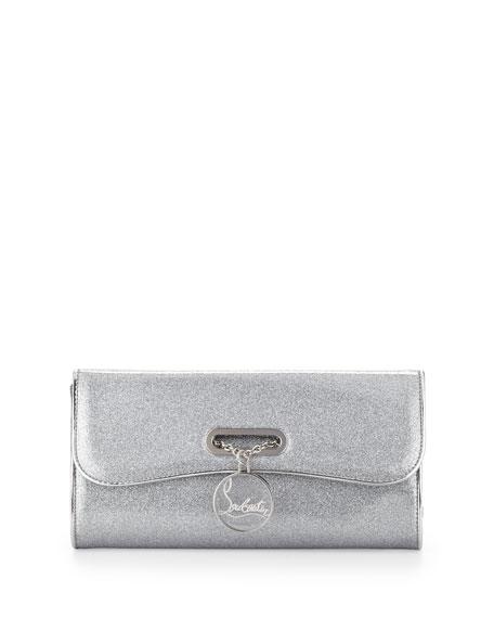 Riviera Glittered PVC Clutch Bag, Silver