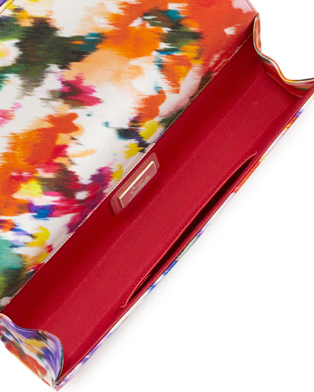 Loubibow Satin Clutch Bag, Floral