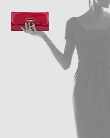 Riviera Patent Clutch Bag, Fuchsia