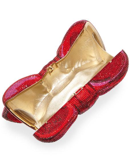 Crystal Bow Clutch Bag, Champagne Siam