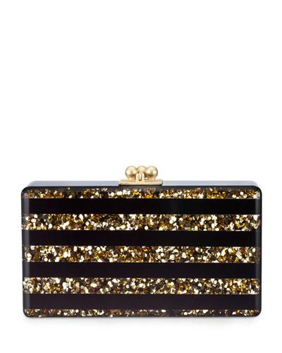 Edie Parker Jean Confetti Striped Acrylic Clutch Bag, Black/Gold